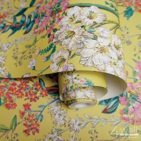 Żółta tapeta w nowoczesne kwiaty do wnętrza