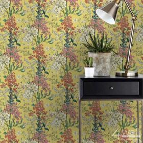 Tapeta na ścianę do pokoju żółta w nowoczesne kwiaty
