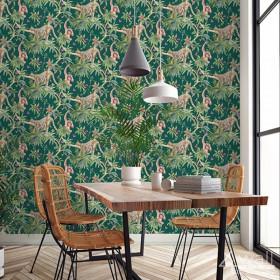 Nowoczesna tapeta zielona w stylu tropikalnym do jadalni lub salonu egzotyczne wnętrze