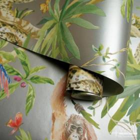 Flizelinowa tapeta tropikalna w kolorze srebrnym w zielone wzory błyszczące