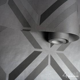 Szara tapeta 3D w romby
