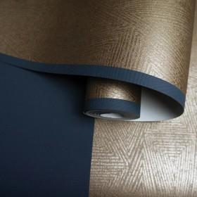 Tapeta w złoto granatowe pasy błyszczące w stylu nowoczesnym