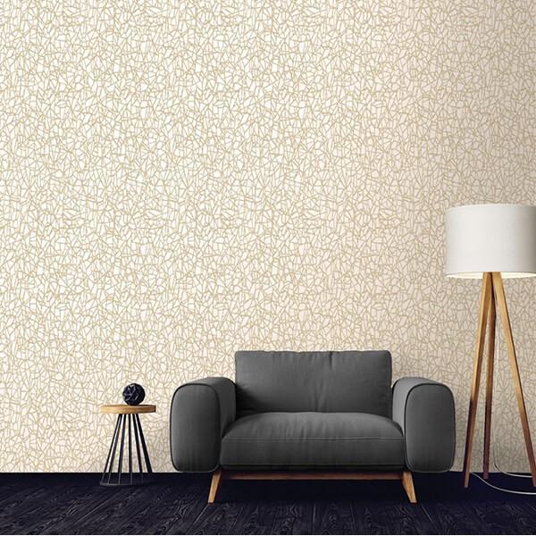 Tapeta w stylu skandynawskim w kremowo złote wzory