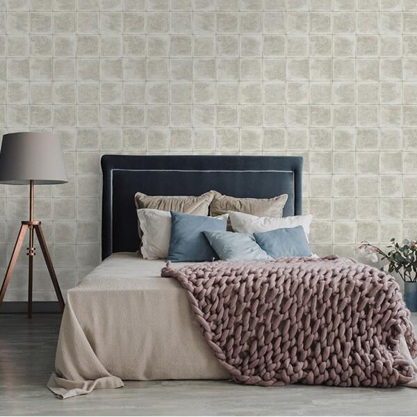 Geometryczna tapeta w kafle do sypialni aranżacje