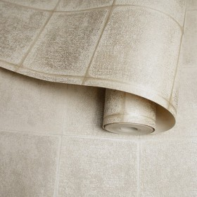 Tapeta w złoto kremowe kafle geometryczne w stylu nowoczesnym