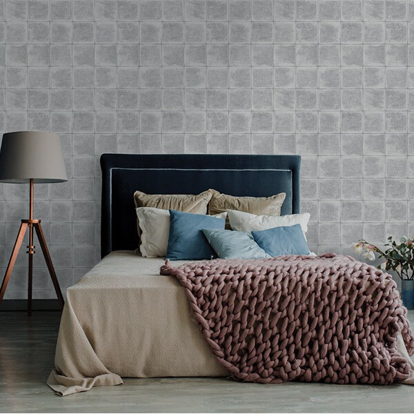 Nowoczesna tapeta w szare kafle do sypialni