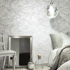 Tapeta w szaro biały marmur do sypialni
