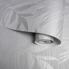 Tapety w liście srebrne na szarym tle