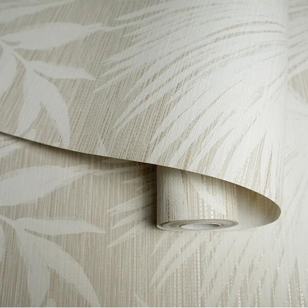 Beżowa tapeta na ścianę w liście Glamour