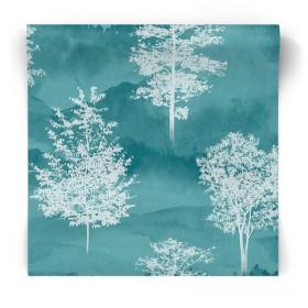 Turkusowa tapeta w białe drzewa 90821