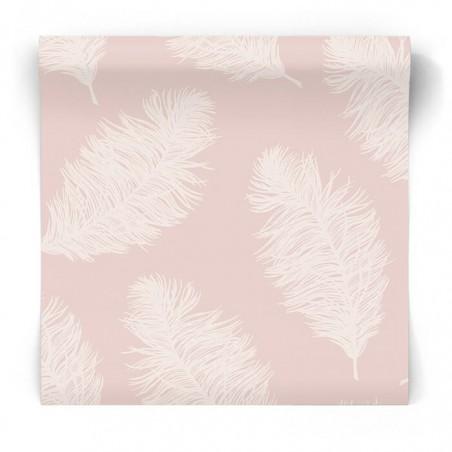 Różowa tapeta w piórka 90860