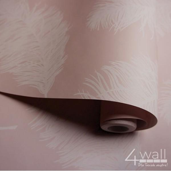Różowa tapeta w pióra nowoczesna