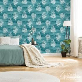 Turkusowa tapeta do wnętrza w stylu skandynawskim salon lub sypialnia