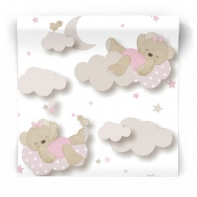 Różowa tapeta do pokoju niemowlaka 5402