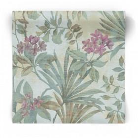 Zielona tapeta w kwiaty 3703