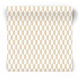 Beżowo biała tapeta geometryczna 3775