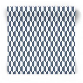 Granatowo biała tapeta do salonu 3777