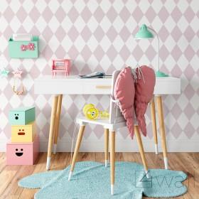 Dziecięca tapeta w romby różowe skandynawskie