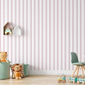 Różowe pasy tapeta do pokoju dziecka