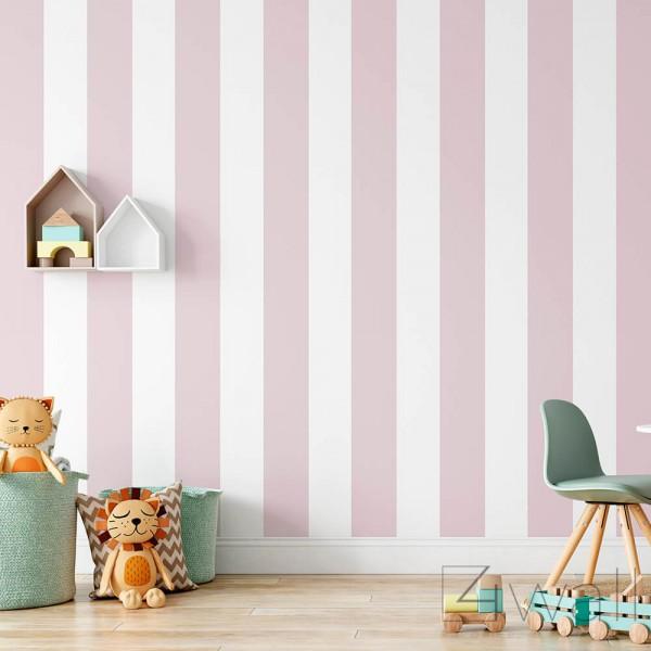 Tapeta w różowe pasy do pokoju dziewczynki dziecka