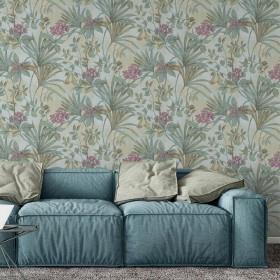 Zielona tapeta w kwiaty do salonu