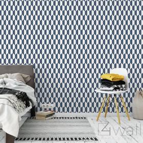 Granatowo białe ściany tapety aranżacje