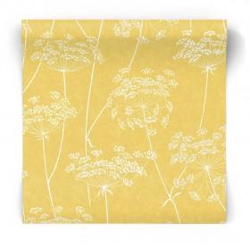 Musztardowa tapeta w białe kwiaty 105747