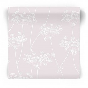 Różowa tapeta w białe rośliny 106575