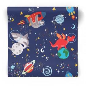Tapeta dziecięca kosmos fluorescencyjna 90922
