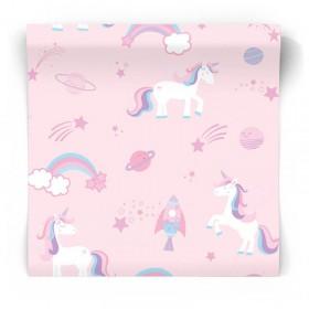 Różowa tapeta dziecięca w jednorożce 90961