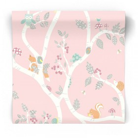 Różowa tapeta drzewka i sowy 12492