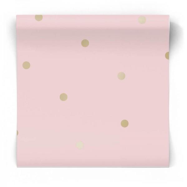 Różowa tapeta w kropeczki 12604