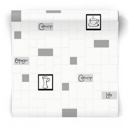 Kuchenna tapeta czarno biała 15280