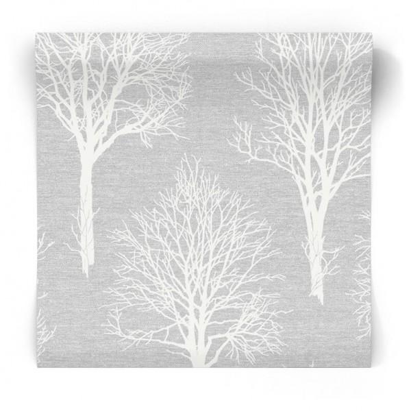 Szara tapeta w białe drzewa 106668
