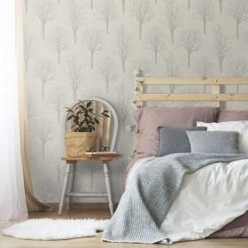 Tapeta beżowa idealna do sypialni w drzewa w stylu klasycznym