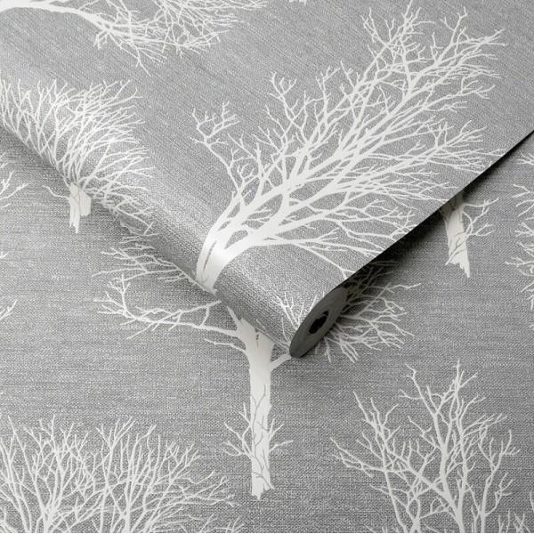 Jasno szara tapeta winylowa w białe drzewa na szarym tle