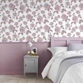 Różowa tapeta Vintage do sypialni w kwiaty róże