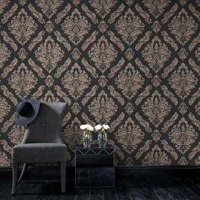 Czarne tapety złote akcenty na ścianę
