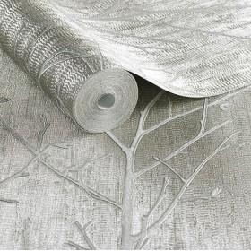 Tłoczona tapeta w drzewka błyszcząca