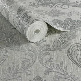 Tłoczona tapeta srebrna glamour