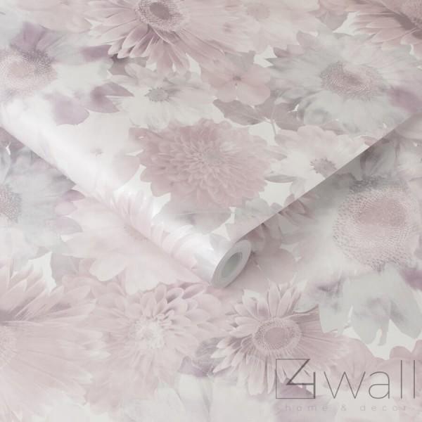 Perłowa tapeta w kwiaty