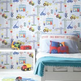 Dziecięca tapeta do pokoju chłopca w samochody