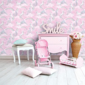 Tapeta w jednorożce dziecięca różowa
