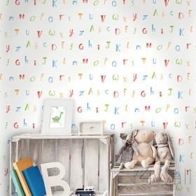 Tapety dziecięce w literki abecadło do pokoju niemowlaka skandynawska