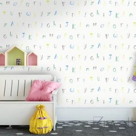 Skandynawska tapeta dziecięca w literki abecadło do pokoju chłopca lub dziewczynki
