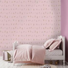 Elegancka tapeta dziecięca złote literki na różowym tle