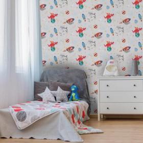 Fluorescencyjna tapeta do pokoju chłopca świecące gwiazdki kosmos