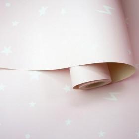 Tapeta dziecięca różowa w gwiazdki