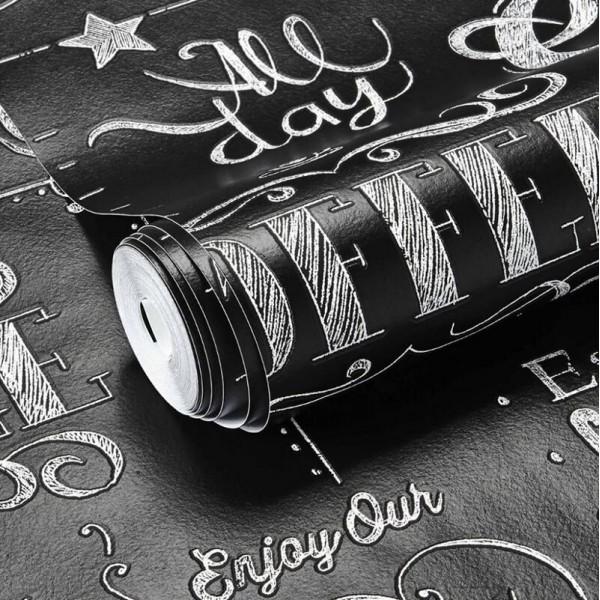 Czarna tapeta z napisami do kuchni przepis jak tablica