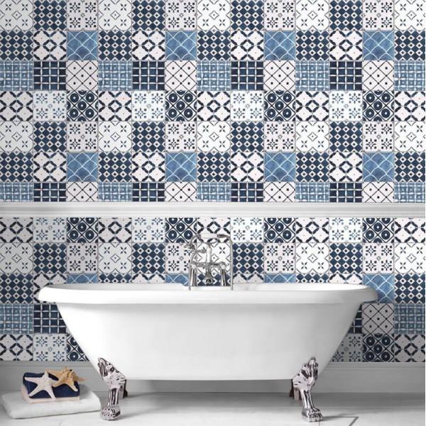 Tapeta do łazienki niebieska mozaika
